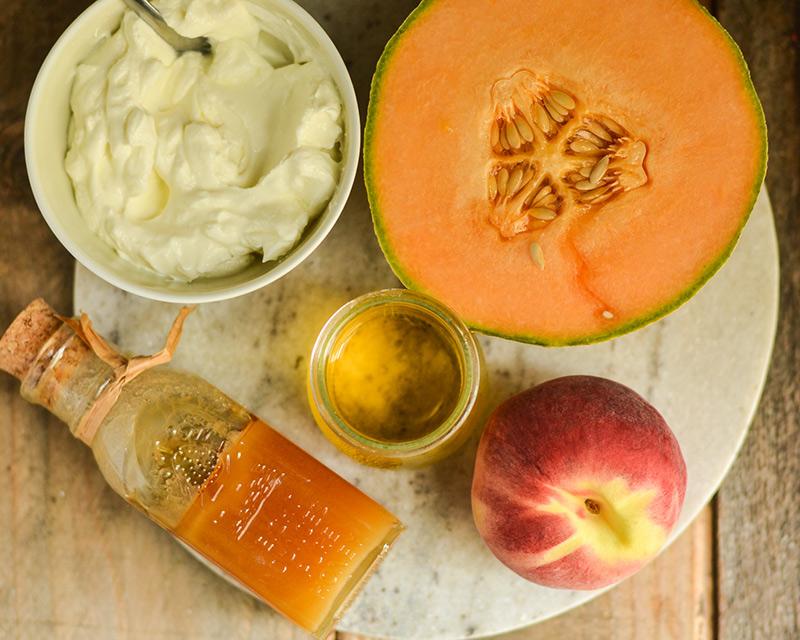 Fruit and yogurt to make smoothie