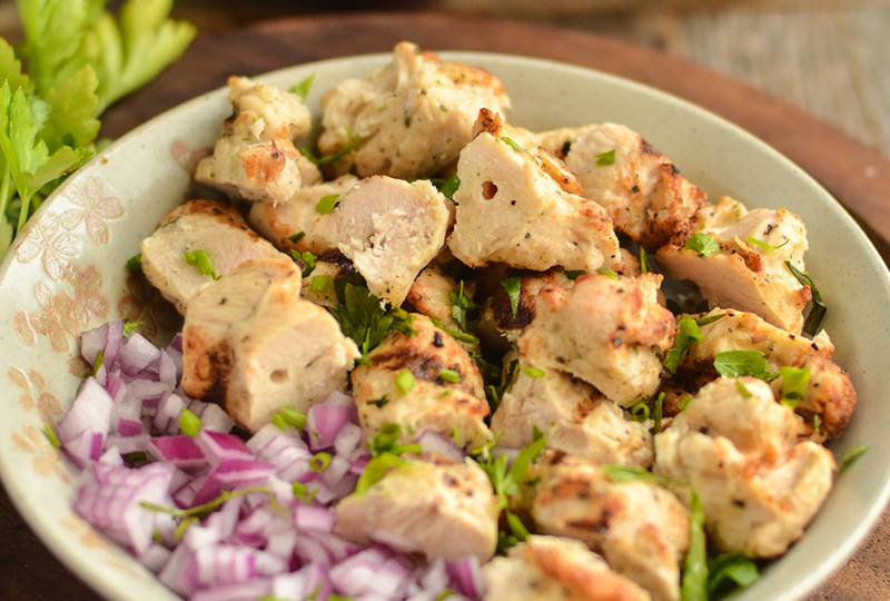 Chicken salad with tarragon in a serving bowl