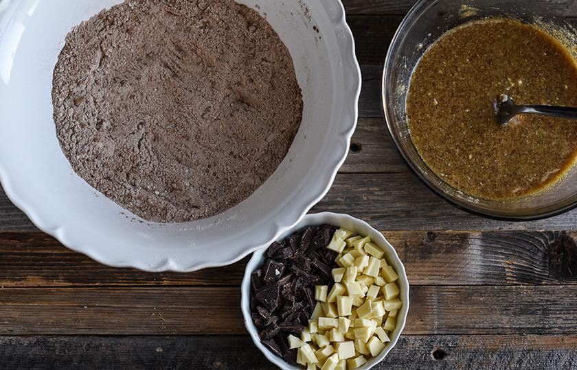 Dry ingredients for triple chocolate cookies