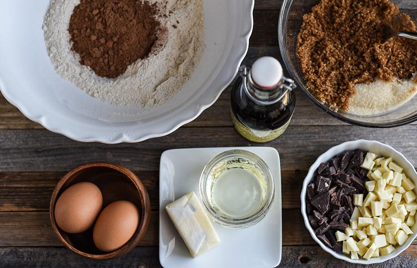 Ingredients for baking triple chocolate cookies