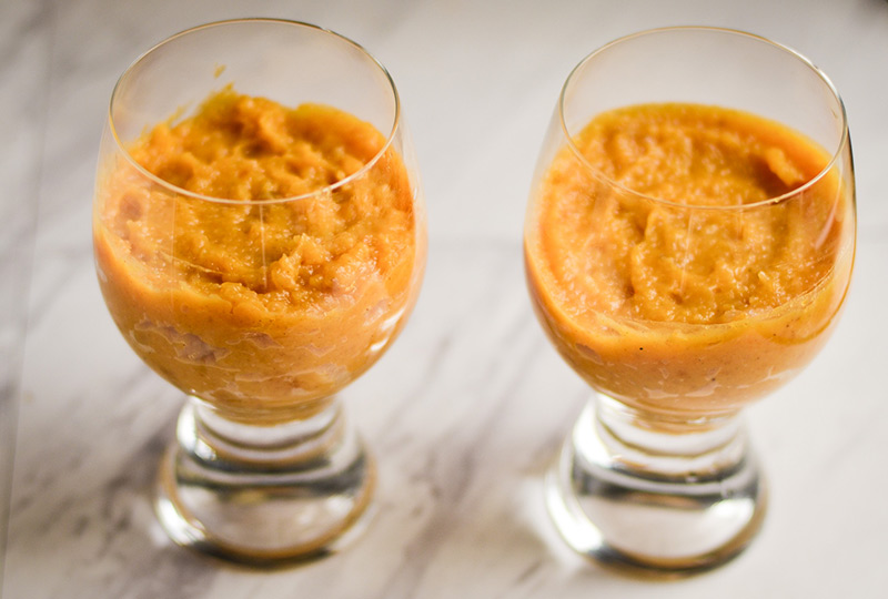Pumpkin mixture in parfait glasses.
