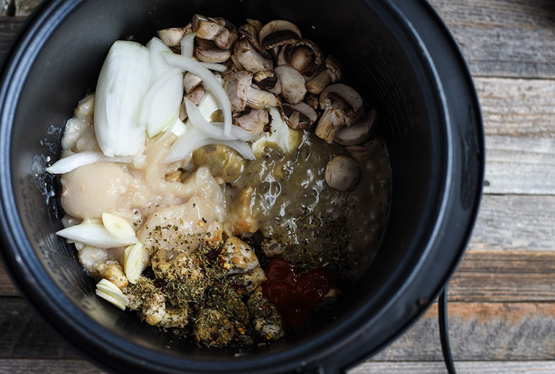 Chicken, seasonings and onion in a slow cooker base.