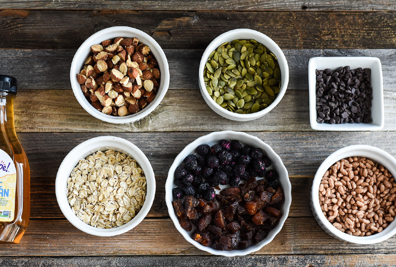 Ingredients measured out for homemade energy bars