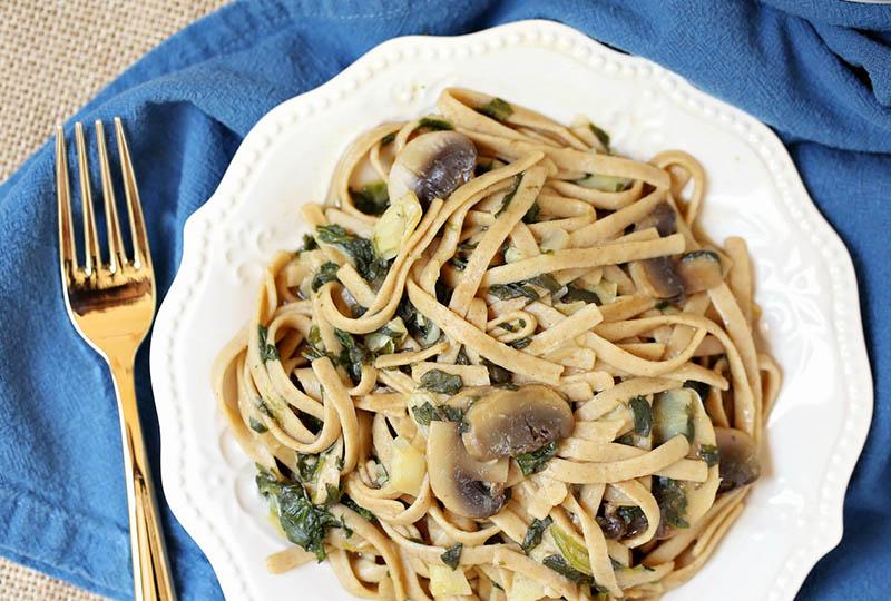 Spinach and mushroom fettucini