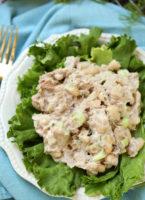 Tuna salad on a bed of greens