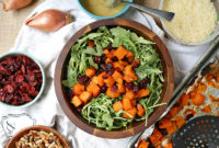Roasted butternut squash salad in a salad bowl
