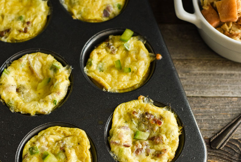 Breakfast egg muffins cooling in muffin pan