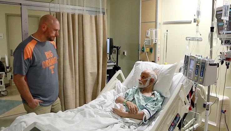 Travis Ghee visiting LVAD patient
