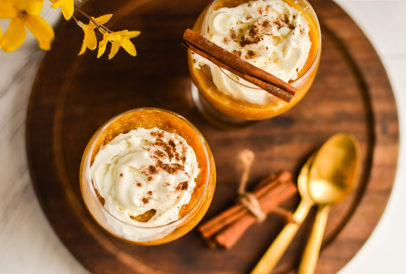 Two pumpkin parfait desserts in glasses