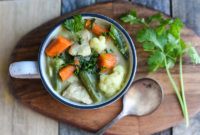 Bowl of Thai chicken and vegetable soup