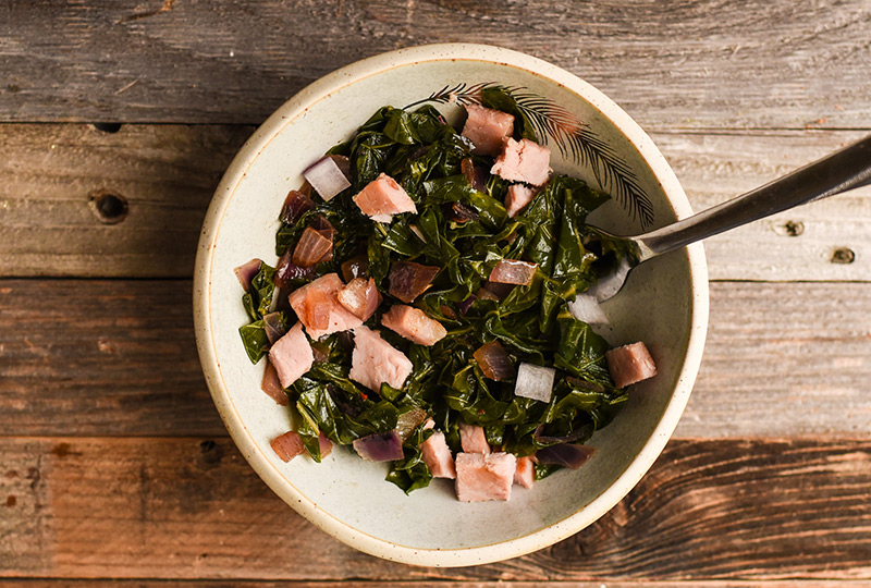 Collard greens in a serving bowl