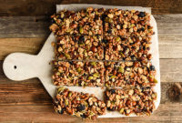 Homemade energy bars on a cutting board