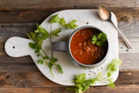 Tomato bean soup in a mug