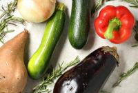 Fresh zucchini, eggplant, sweet potato and red pepper.