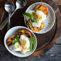 grilled peaches with frozen yogurt