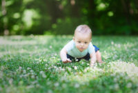 Baby crawls through grass in a field
