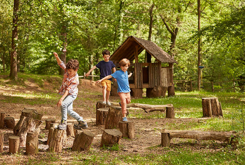 3 children play along a wooded trail
