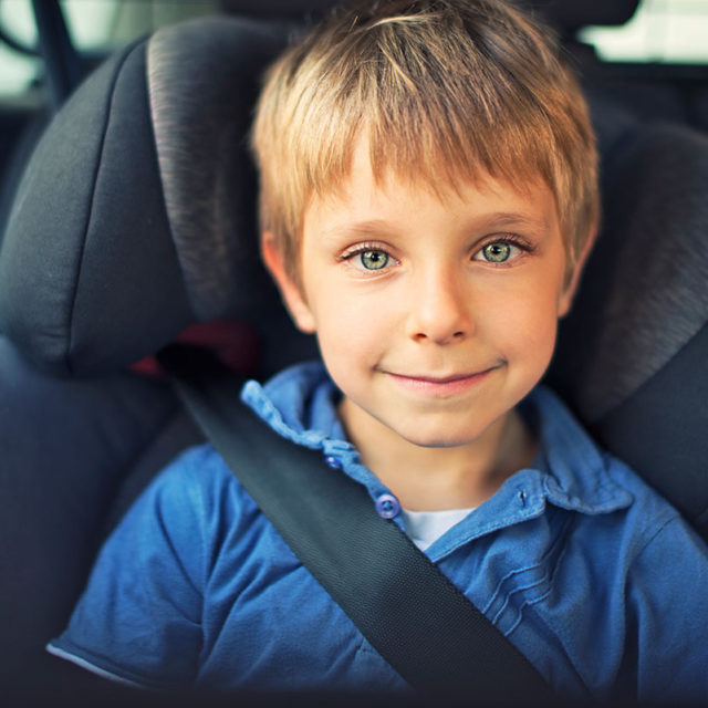 child passenger safely buckled in to seat