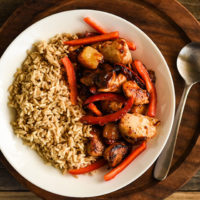 Stir-fry chicken with side of veggies for weeknight dinner.