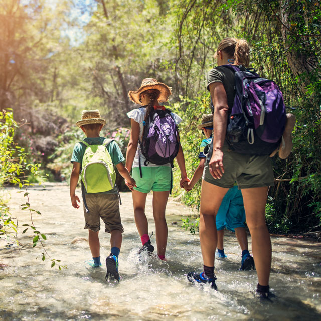 Mother and children hiking as part of summer fitness routine.